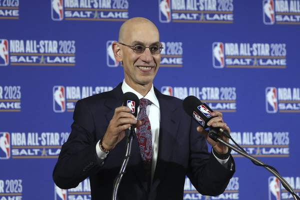 FILE - In this Oct. 23, 2019, file photo, NBA Commissioner Adam Silver speaks during a news conference at Vivint Smart Home Arena in Salt Lake City. (AP Photo/Rick Bowmer, File)