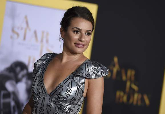 FILE - In this Sept. 24, 2018 file photo, actress Lea Michele arrives at the Los Angeles premiere of A Star Is Born.  (Photo by Jordan Strauss/Invision/AP, File)
