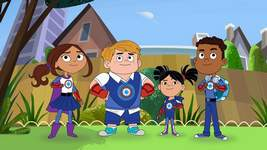 """TV-Superhero With Autism PBS Kids The new PBS series """"Hero Elementary"""" features, from left, Lucita Sky, Benny Bubbles, Sara Snap and AJ Gadgets. AJ is a superhero who has the ability to make super gadgets and also happens to be on the Autism spectrum. The series premiered Monday on PBS stations. (HONS)"""