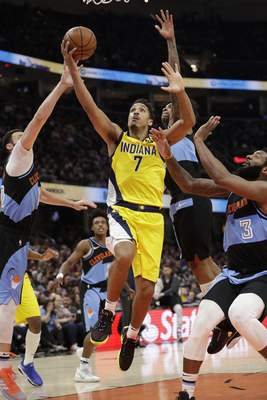 Associated Press The Indiana Pacers' Malcolm Brogdon drives to the basket against the Cleveland Cavaliers on Feb. 29 in Cleveland.