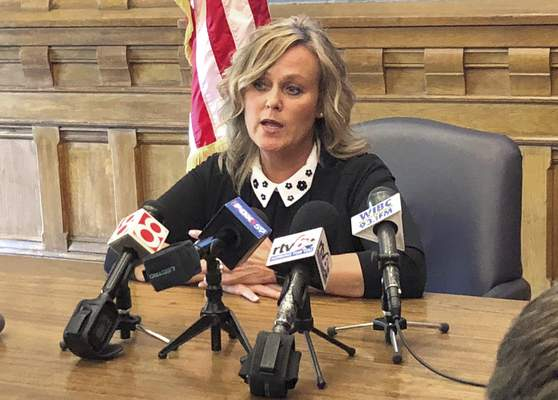 FILE - In this May 13, 2019, file photo, Indiana state schools Superintendent Jennifer McCormick speaks during a news conference at the Statehouse in Indianapolis. (AP Photo/Tom Davies, file)