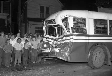 Aug. 20, 1947: The front of a trolley coach was caved in when it collided with a truck transporting 11 tons of steel. (Journal Gazette file photo)