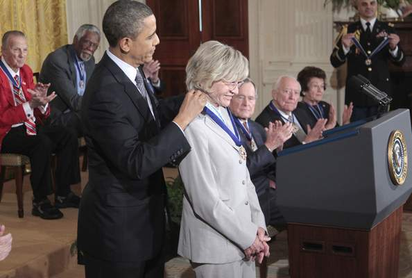 FILE - In this Feb. 15, 2011 file photo, President Barack Obama presents a Medal of Freedom to Jean Kennedy Smith during a ceremony in the East Room of the White House in Washington. (AP Photo/Pablo Martinez Monsivais)
