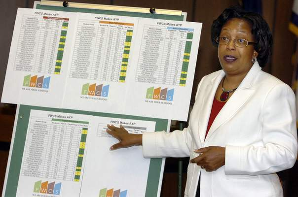 File  Dr. Wendy Robinson along with the Fort Wayne Community School board announces good news about the Adequate Yearly Progress on Thursday morning. Here Robinson goes over the information during a press conference.