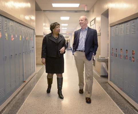 File  Citizen of the Year: Mark GiaQuinta and Dr Wendy Robinson at Harrison Hill Elementary.