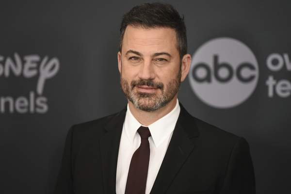 FILE - This May 14, 2019 file photo shows Jimmy Kimmel at the Walt Disney Television 2019 upfront in New York. (Photo by Evan Agostini/Invision/AP, File)