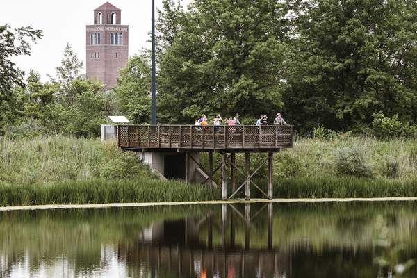 Mike Moore | The Journal Gazette A group of bird watchers scan the horizon on Sunday while getting a rare opportunity to explore Camp Scott Nature Preserve hosted by Fort Wayne Trails.
