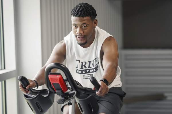 Mike Moore   The Journal Gazette Former Trine University football safety Torranio Hardy warms up before working out on Thursday 06.18.20 at Jackson R. Lehman Family YMCA