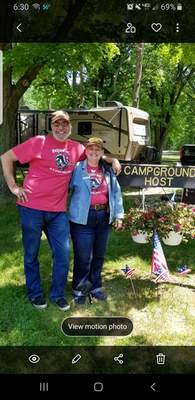 David and Chris Modlin have been campground hosts at Chain O'Lakes State Park in Albion for five years.