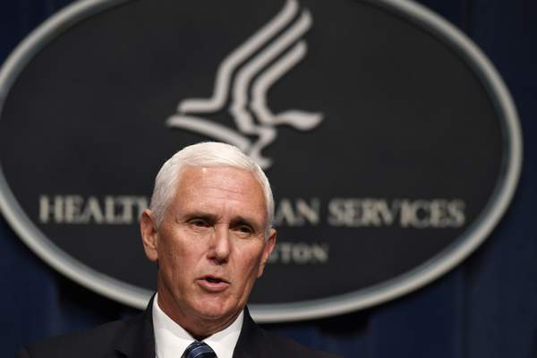 Vice President Mike Pence speaks during a news conference with the Coronavirus task force at the Department of Health and Human Services in Washington, Friday, June 26, 2020. (AP Photo/Susan Walsh)