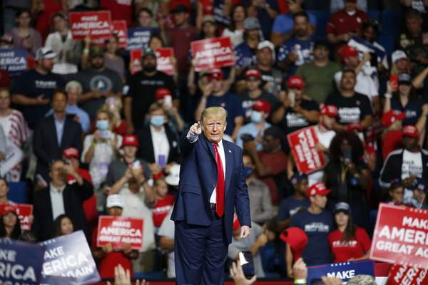 FILE - In this June 20, 2020, file photo, President Donald Trump speaks during a campaign rally at the BOK Center in Tulsa, Okla. (AP Photo/Sue Ogrocki, File)