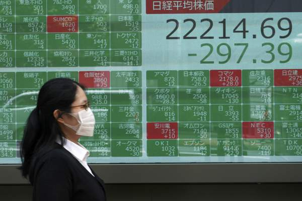 A woman walks past an electronic stock board showing Japan's Nikkei 225 index at a securities firm in Tokyo Monday, June 29, 2020. (AP Photo/Eugene Hoshiko)