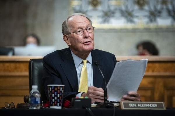 Sen. Lamar Alexander, R- Tenn., speaks during a Senate Health, Education, Labor and Pensions Committee hearing on Capitol Hill in Washington, Tuesday, June 30, 2020. (Al Drago/Pool via AP)