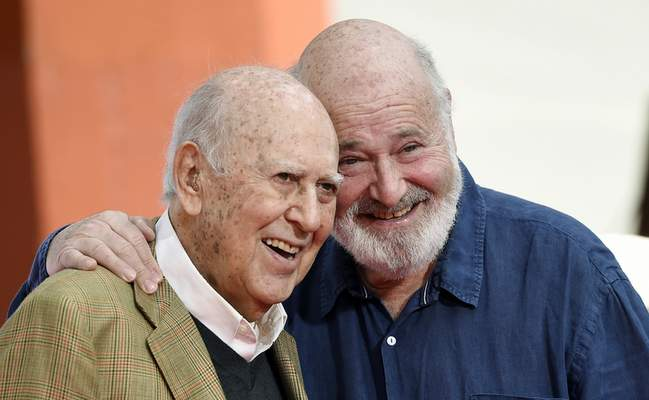 Associated Press Carl Reiner and his son Rob pose following their hand and footprint ceremony at the TCL Chinese Theatre in Los Angeles in 2017.