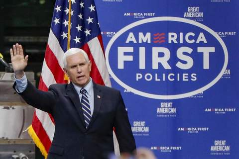 In this June 12, 2020, file photo Vice President Mike Pence, waves as he arrives to speak after a tour at Oberg Industries plant in Sarver, Pa. (AP Photo/Keith Srakocic, File)
