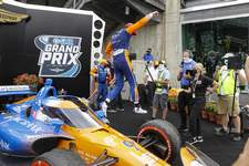 IndyCar Indianapolis Auto Racing Associated Press  Scott Dixon jumps off his car after winning the IndyCar race at Indianapolis Motor Speedway in Indianapolis on Saturday.  (Darron Cummings STF)