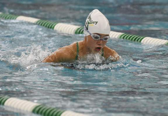 Rachel Von Stroup | The Journal Gazette: A Pine Valley swimmer races in the girls 11-12 200 medley relay during the 2019 City Swim Meet. This year's event has been canceled because of COVID-19 concerns, organizers said today.