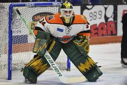 Mike Moore | The Journal Gazette Stefanos Lekkas stopped 32 of 34 shots in his first professional game – a 7-2 win over the Wichita Thunder on March 11. It wound up being the final game of the Komets' season before the coronavirus pandemic halted play. (The_Journal_Gazette)