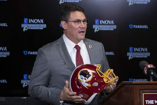 Redskins Name Football Associated Press: In this Jan. 2, 2020, file photo, Washington Redskins head coach Ron Rivera holds up a helmet during a news conference at the team's NFL football training facility in Ashburn, Va. (Alex BrandonSTF)