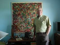 Photos by Terri Richardson   The Journal Gazette David Cooper has been an art collector for many years. He stands in front of what he believes to be a Jackson Pollock painting.
