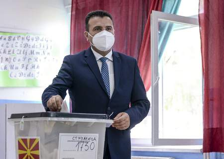 North Macedonia Election The leader of the ruling SDSM party Zoran Zaev casts his ballot for the parliamentary elections in a polling station in the southeastern town of Strumica, North Macedonia on Wednesday, July 15, 2020. (AP Photo) (STR)