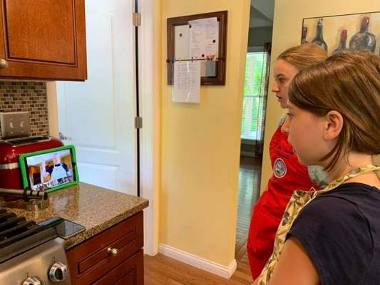 Courtesy Girl Scouts watch a virtual program from STEM program coordinator Candace Studebaker of the Girl Scouts of Northern Indiana-Michiana council.