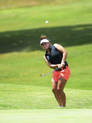 Katie Fyfe | The Journal Gazette  Linnzie Richner competes during the second round of the Women's City Golf Tournament at Brookwood Golf Club on Saturday.