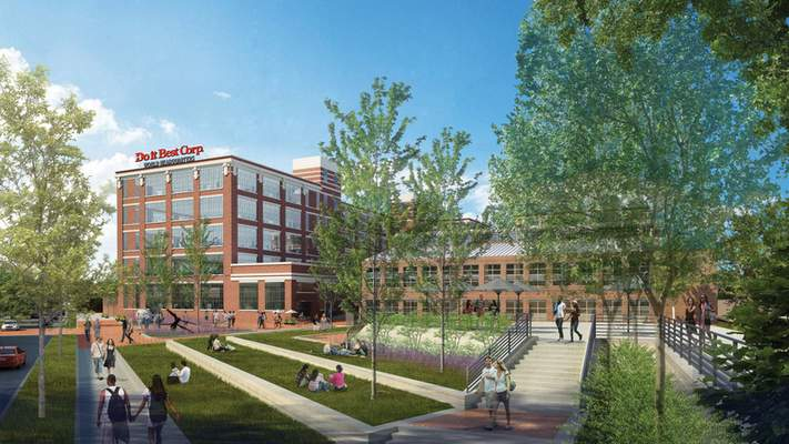 Courtesy  This architect's rendering of Electric Works building 26 shows what the planned Do it Best headquarters might look like.