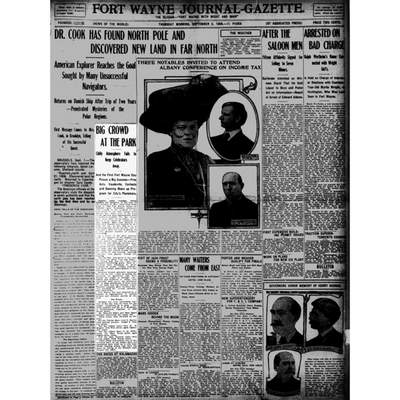 The highlighted story from this Sept. 2, 1909, page of the Fort Wayne Journal-Gazette details Fort Wayne day at Robison Park. (Journal Gazette file)
