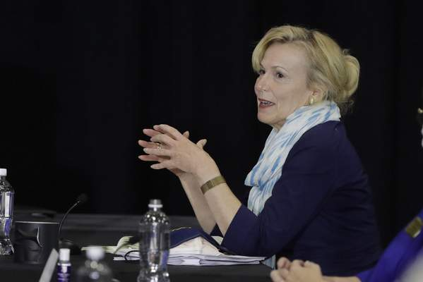 Dr. Deborah Birx, White House coronavirus response coordinator, speaks during a meeting with higher education leaders on safely reopening schools, Friday, July 24, 2020, in Indianapolis. (AP Photo/Darron Cummings)