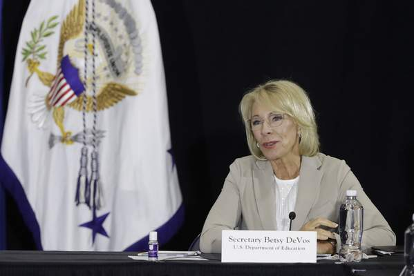 Education Secretary Betsy DeVos speaks during a meeting with higher education leaders on safely reopening schools, Friday, July 24, 2020, in Indianapolis. (AP Photo/Darron Cummings)