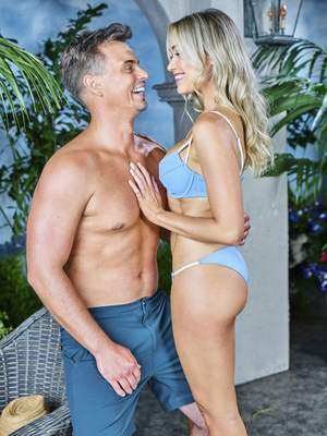 """Darin Brooks and Katrina Bowden play romantic interests in """"The Bold and the Beautiful,"""" but Bowden's husband,musician Ben Jorgensen, is stepping into Brooks' role for scenes that require closeness between characters. """"We see the back of his head, and think it's really convincing ...,""""executive producer Bradley Bell said."""