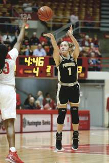 Purdue Ohio St Basketball Associated Press Purdue guard Karissa McLaughlin, a Homestead graduate and 2017 Indiana Miss Basketball, will sit out this season after ankle surgery. (Paul VernonFRE)