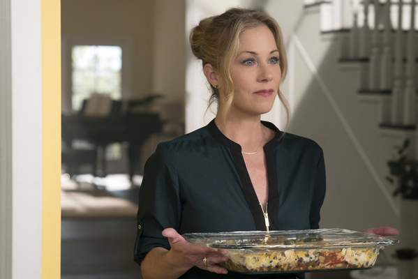 This image released by Netflix shows Christina Applegate in a scene from Dead To Me. Applegate was nominated for an Emmy Award for outstanding lead actress in a comedy series on Tuesday, July 28, 2020. (Saeed Adyani/Netflix via AP)