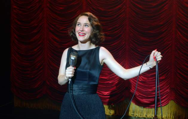 This image released by Amazon Studios shows Rachel Brosnahan in a scene from The Marvelous Mrs. Maisel. Brosnahan was nominated for an Emmy Award for outstanding lead actress in a comedy series on Tuesday, July 28, 2020. (Amazon Studios via AP)