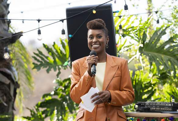 This image released by HBO shows Issa Rae in a scene from Insecure. Rae was nominated for an Emmy Award for outstanding lead actress in a comedy series on Tuesday, July 28, 2020. (Merie Weismiller Wallace/HBO via AP)