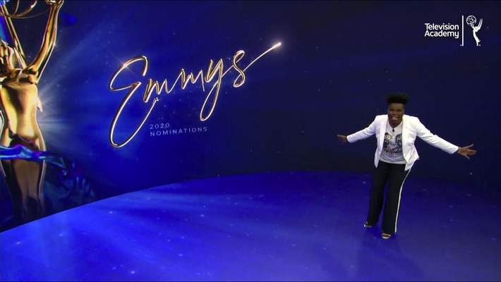 In this video grab issued Tuesday, July 28, 2020 by The Television Academy, Leslie Jones presents the nominees for the 72nd Primetime Emmy Awards. (The Television Academy via AP)
