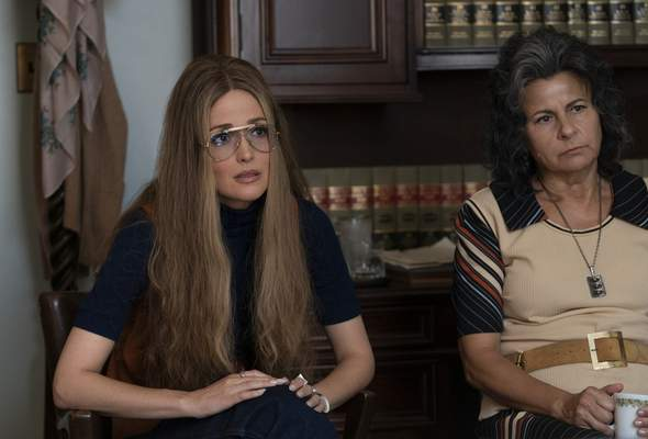 This image released by FX shows Rose Byrne as Gloria Steinem, left, and Tracey Ullman as Betty Friedan in a scene from the miniseries Mrs. America. The series was nominated for an Emmy Award for outstanding limited series on Tuesday, July 28, 2020. (Sabrina Lantos/FX via AP)