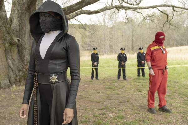 This image released by HBO shows Regina King in a scene from Watchmen. The series was nominated for an Emmy Award for outstanding limited series on Tuesday, July 28, 2020. King was also nominated for outstanding lead actress in a limited series or movie. (Mark Hill/HBO via AP)