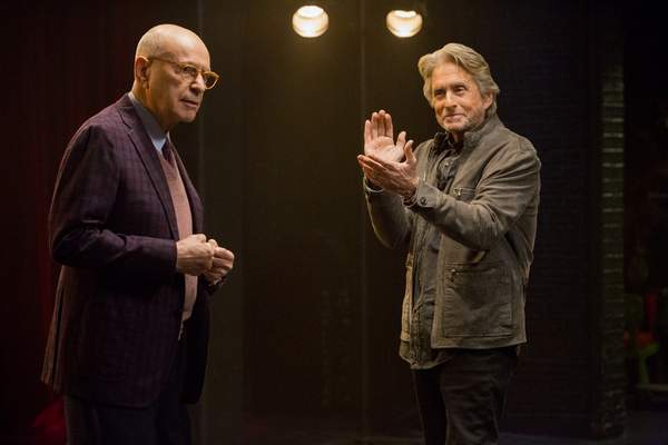 This image released by Netflix shows Alan Arkin, left, and Michael Douglas in a scene from The Kominsky Method. The program was nominated for an Emmy Award for outstanding comedy series on Tuesday, July 28, 2020. (Mike Yarish/Netflix via AP)