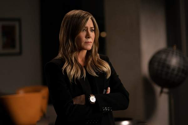 This image released by Apple TV Plus shows Jennifer Aniston in a scene from The Morning Show. Aniston was nominated for an Emmy Award for outstanding lead actress in a drama series on Tuesday, July 28, 2020. (Apple TV Plus via AP)