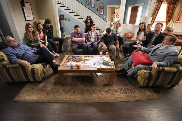 This image released by ABC shows the cast of Modern Family, from left, Ed O'Neill, Sofia Vergara, Sarah Hyland, Reid Ewing, Rico Rodriguez, Ariel Winter, Nolan Gould, Ty Burrell, Julie Bowen, Aubrey Anderson-Emmons, Jesse Tyler Ferguson and Eric Stonestreet. (Eric McCandless/ABC via AP)