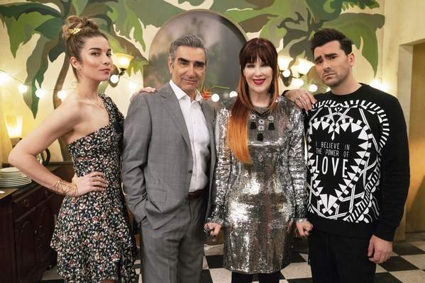 This image released by Pop TV shows, from left, Annie Murphy, Eugene Levy, Catherine O'Hara and Dan Levy from the series Schitt's Creek. Nominations for the Emmy Awards will be announced on Tuesday, July 28.(Pop TV via AP)