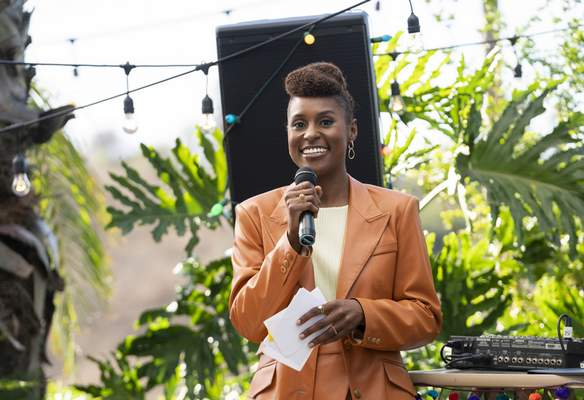 This image released by HBO shows Issa Rae in a scene from the fourth season premiere episode of Insecure. (Merie Weismiller Wallace/HBO via AP)