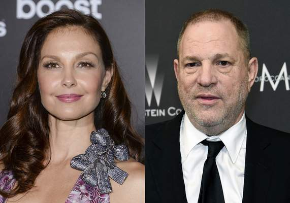 Ashley Judd attends the premiere of The Divergent Series: Insurgent in New York on March 16, 2015, left, and film producer Harvey Weinstein arrives at The Weinstein Company and Netflix Golden Globes afterparty in Beverly Hills, Calif. on March 16, 2015. (AP Photo)