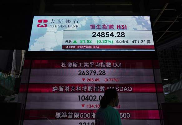 A woman wearing face masks walks past a bank's electronic board showing the Hong Kong share index in Hong Kong Wednesday, July 29, 2020. (AP Photo/Vincent Yu)