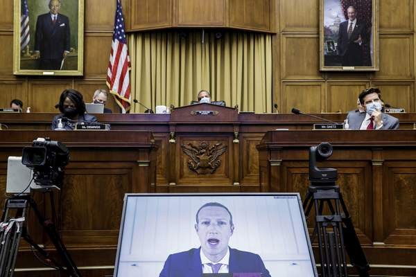 Asscociated Press Facebook CEO Mark Zuckerberg speaks via video conference at a House Judiciary subcommittee hearing Wednesday on Capitol Hill. He was one of four Big Tech executives who testified as part of a probe into their market dominance.