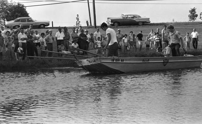 File  July 29, 1970: A shocker boat to temporarily stun fish so they would float to the surface to be counted was among demonstrations at a discussion for pond owners and people thinking of building ponds.