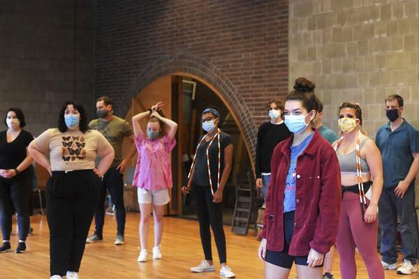 Katie Fyfe | The Journal Gazette Performers wear masks while rehearsing for Legally Blonde: The Musical at the Arts United Center on Monday, July 27th, 2020.