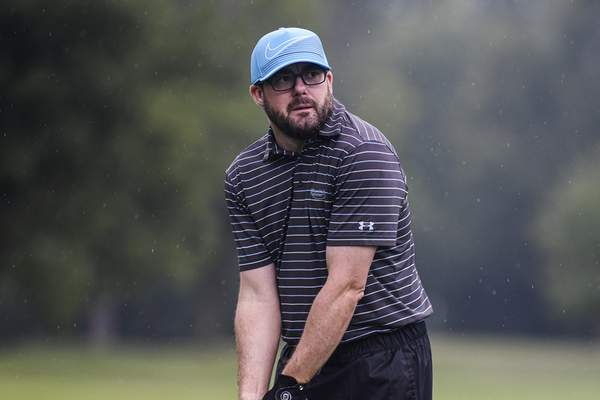 Mike Moore | The Journal Gazette Johnny Strawser competes in round one of the City Golf Tournament at Coyote Creek Golf Club on Saturday.